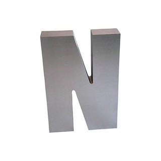 """Metallic Silver Marquee Letter """"N"""""""
