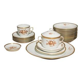Vintage Royal Copenhagen Porcelain Rose & Gold Dinnerware