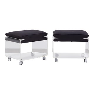 A Pair of Linen Upholstered Lucite Footstools 1970s