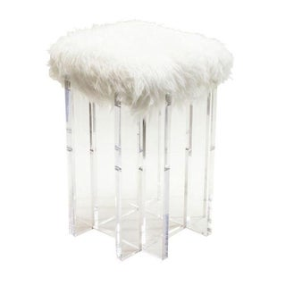 Lucite and Flokati Stool