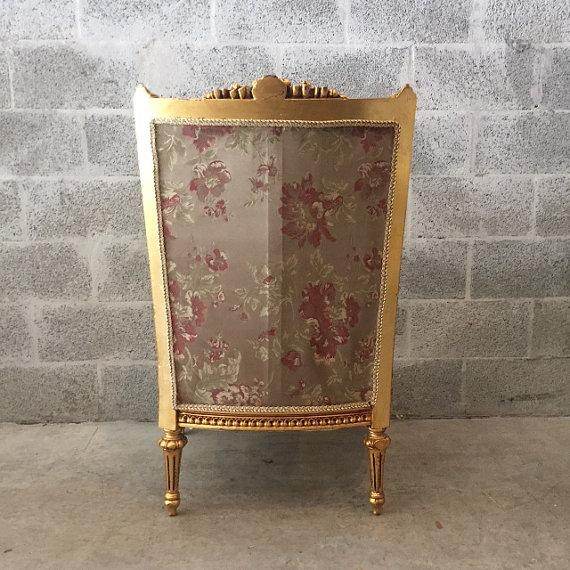 French Louis XVI Chairs Gold Leaf Floral - Pair - Image 5 of 6