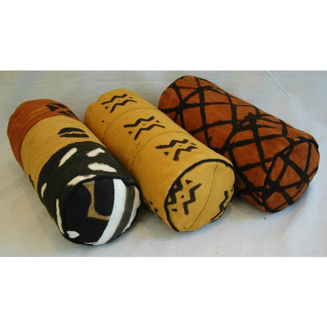 Tribal Mud-Cloth Bolster Accent Pillows - Set of 3 - Image 6 of 9