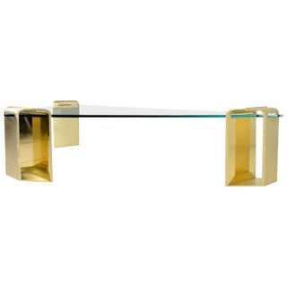 Large Stunning Solid Brass Cocktail Table by Lorin Marsh