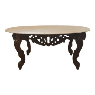 Oval Shaped Marble Coffee Table