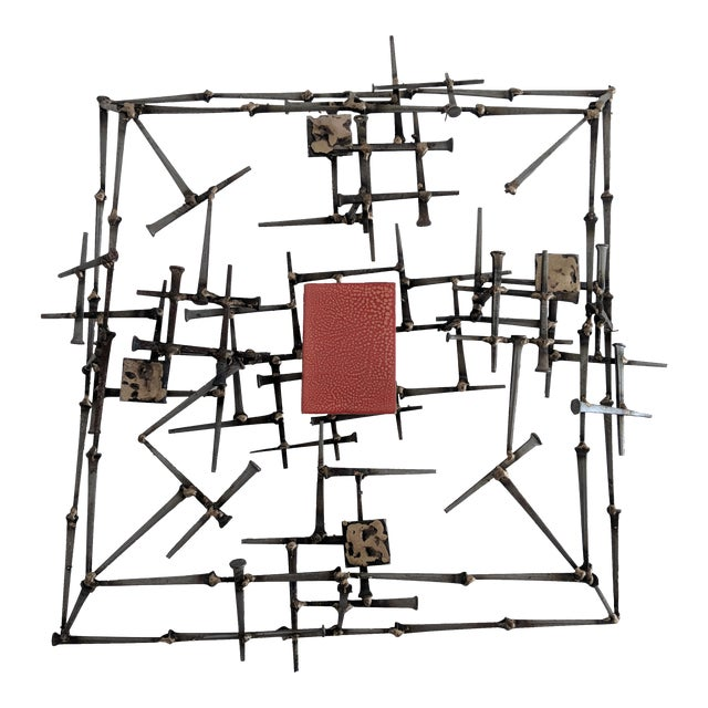 Abstract Brutalist Metal Wall Sculpture - Image 1 of 6