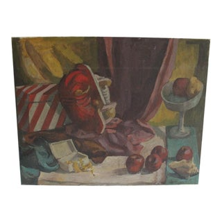 Vintage Still Life Oil Painting of a Robot