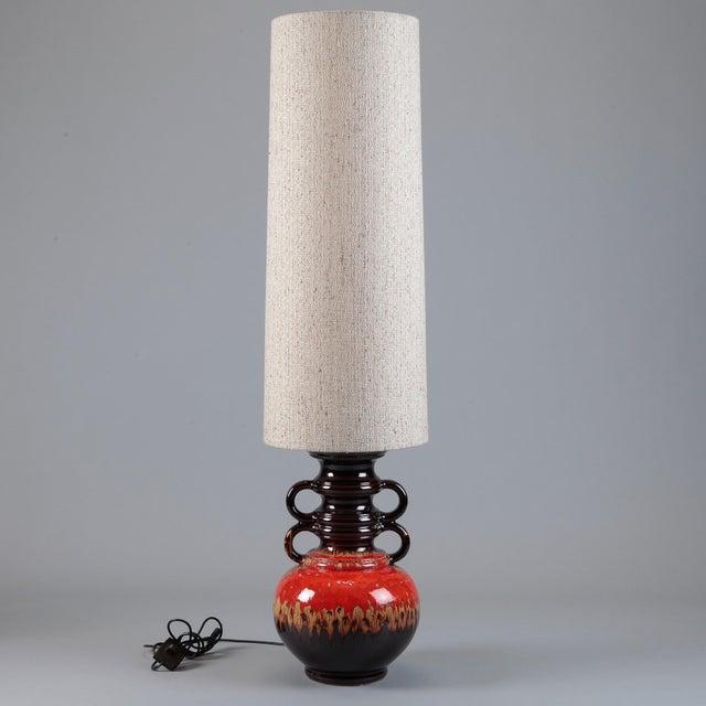 German Mid-Century Ceramic Lamp W/ Original Shade - Image 2 of 3
