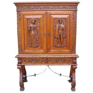 Antique Furniture Spanish Antique Carved Walnut Server Bar Cabinet
