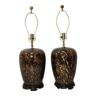 Pair of Beautifully Glazed Stoneware Lamps