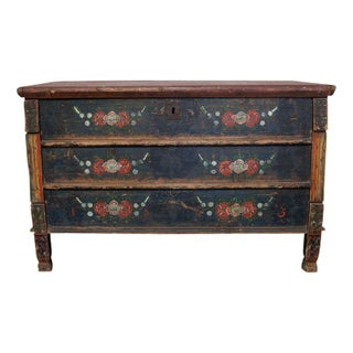 Vintage Black Hand-Painted Chest
