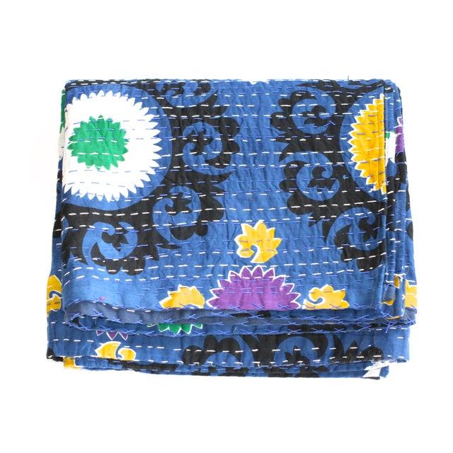 Blue Kantha Suzani Throw - A Full - Image 1 of 2