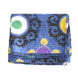 Blue Kantha Suzani Throw - A Full