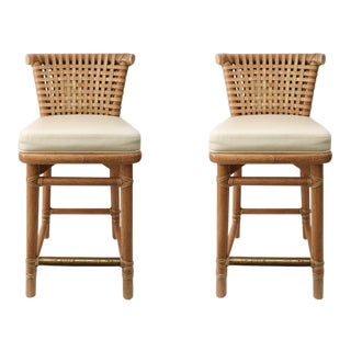 McGuire Bar Stools in Bamboo, Brass, & Cream Leather - A Pair