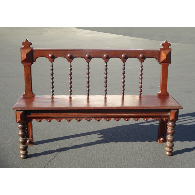 Vintage Spanish Colonial Style Carved Wood Spindle Bench - Image 3 of 10