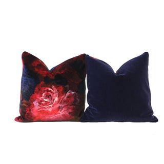 Red Velvet Floral Down Pillows - A Pair