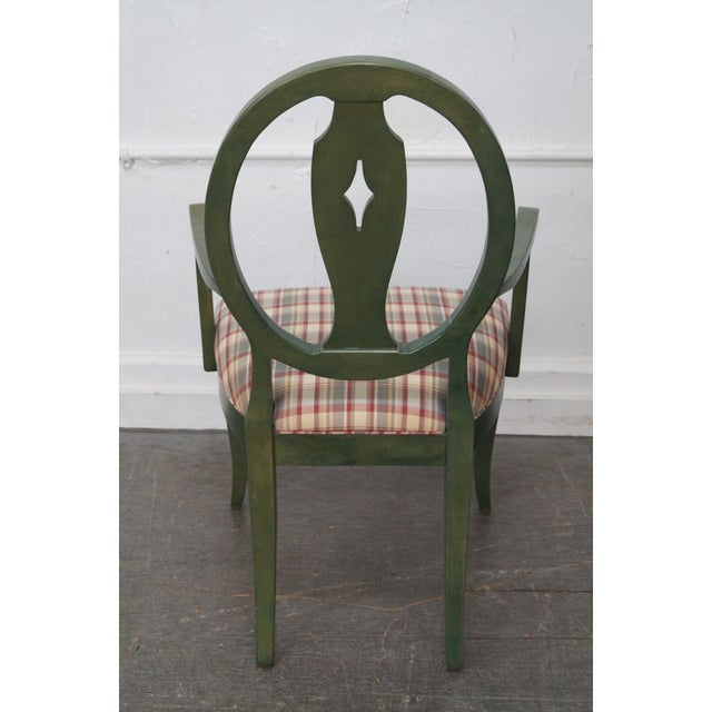 Ethan Allen Country Green Painted Arm Chair - Image 5 of 11