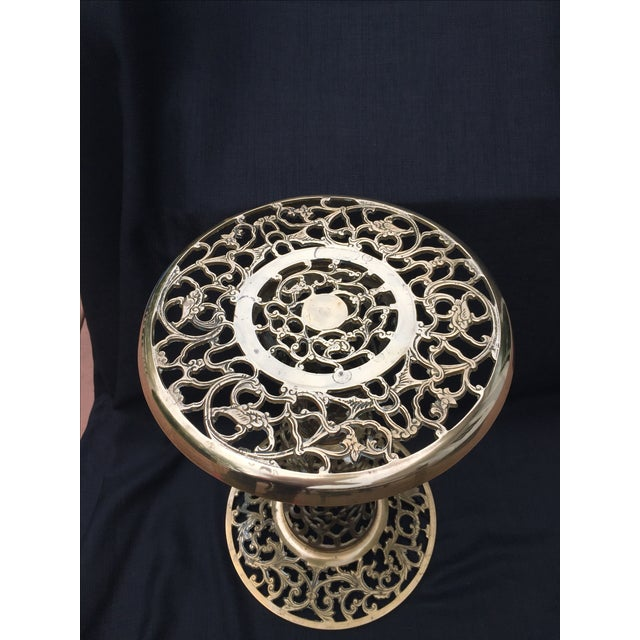 Ornate Filagree Solid Brass Round Side Table - Image 8 of 11