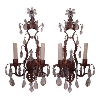 Gilt Metal & Crystal Two Light Wall Sconces - a Pair