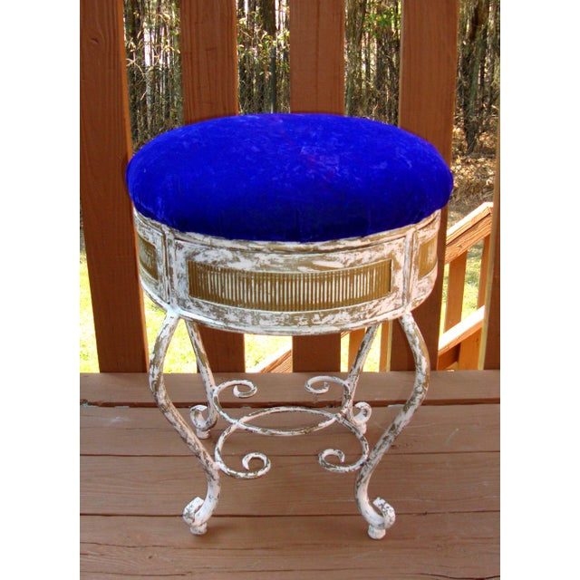 Vintage Gold Iron Vanity Stool in Purple Velvet   Chairish