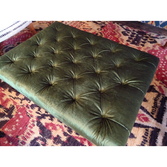 Green Velvet Tufted Ottoman Coffee Table - Image 2 of 3