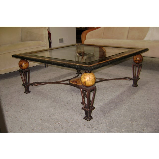 Image of Tiger's Eye Coral & Glass Coffee Table