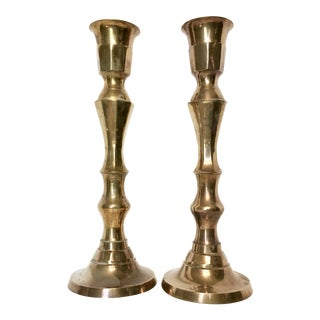 Vintage Oversize Brass Candle Holders - A Pair