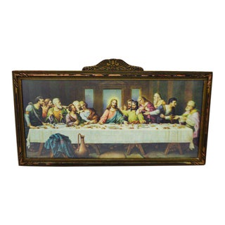 Early H. Zabateri Framed Last Supper Print