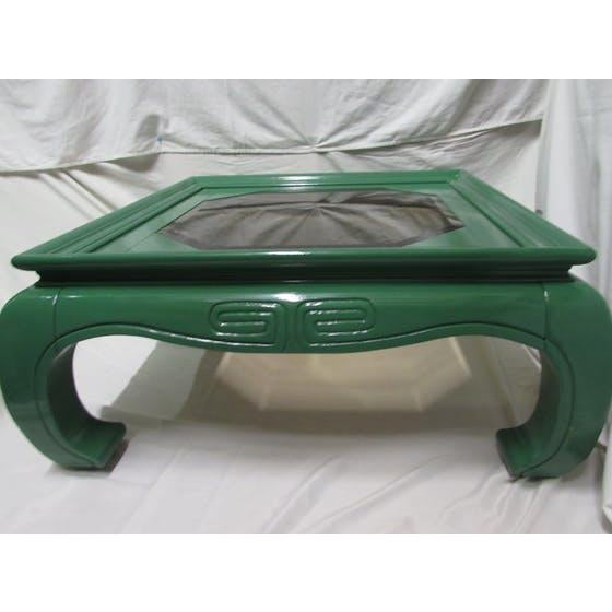 Greek Key Green Lacquered Ming Style Coffee Table - Image 3 of 5
