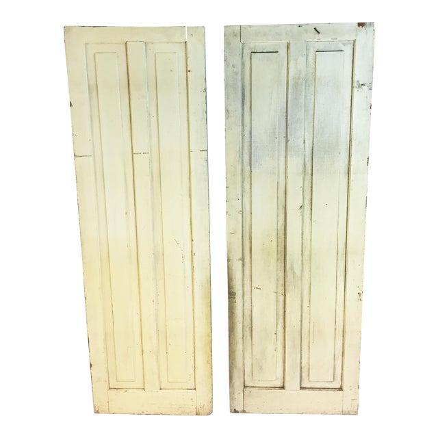 Vintage Rustic Yellow Milk Painted Cabinet Doors - A Pair - Image 1 of 11