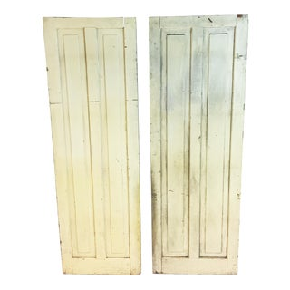 Vintage Rustic Yellow Milk Painted Cabinet Doors - A Pair