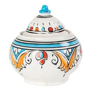 Sugar Bowl with Painted Arabesque Motif