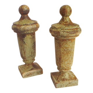 "Antique Cast Iron ""Pawn"" Finials - A Pair"
