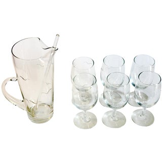 7-Piece Etched Seagull Cocktail Pitcher Set