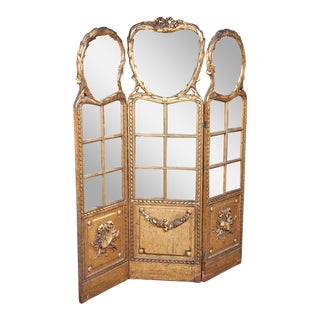 French Gilt & Mirrored Three Panel Divider