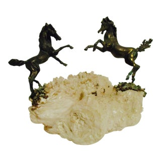 Bronze Sculpture C Jere Style Horse Statue on Quartz