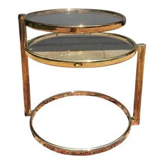 Mid-Century Milo Baughman Style Brass & Glass Table