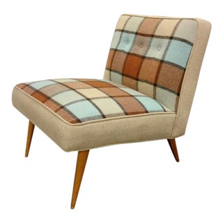 Paul McCobb Style Plaid Slipper Chair