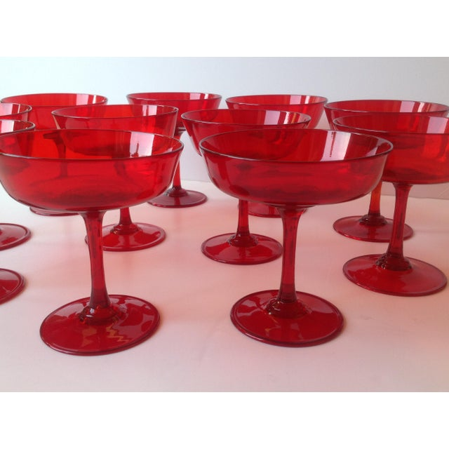 Mid-Century Ruby Red Crystal Coupe Champagne Glasses - Set of 11 - Image 3 of 6