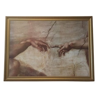 Framed Painting of Michelangelo's Creation of Adam