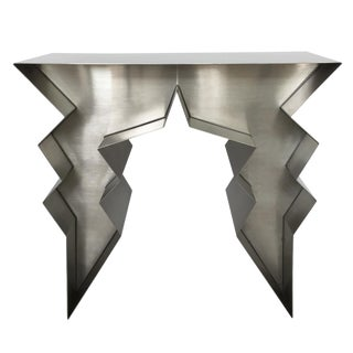 Stainless Steel Lightning Bolt Console Table