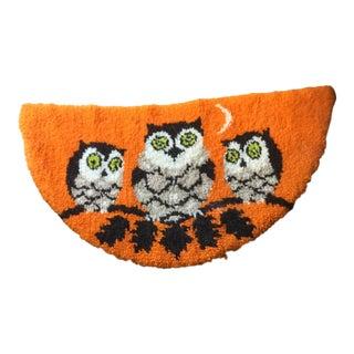 Mid Century Owl Hooked Rug - 1′11″ × 3′8″