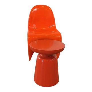 Herman Miller Verner Panton Style Orange Side Chair & Table - A Pair