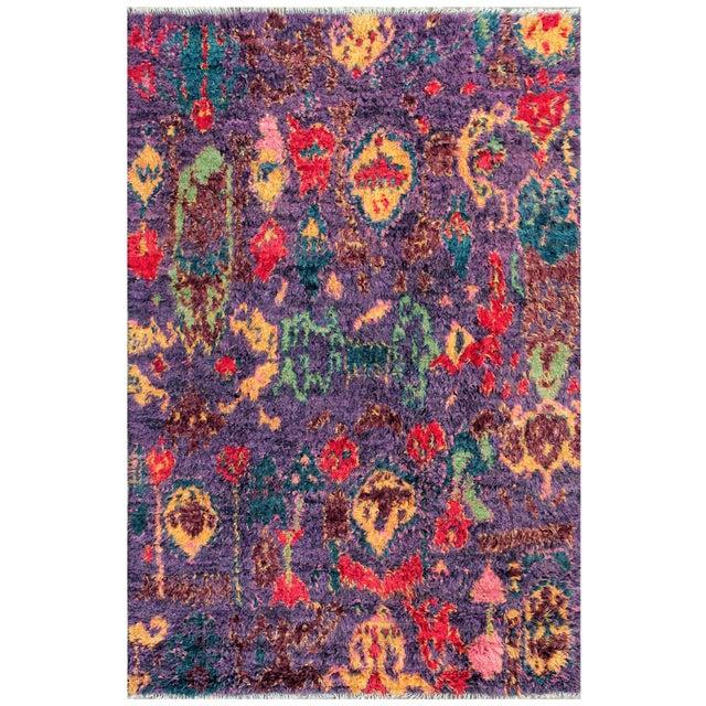 "Moroccan Purple Wool Area Rug - 6'5"" X 9'9"""