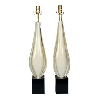 Almond Shaped White Sommerso Murano Lamps