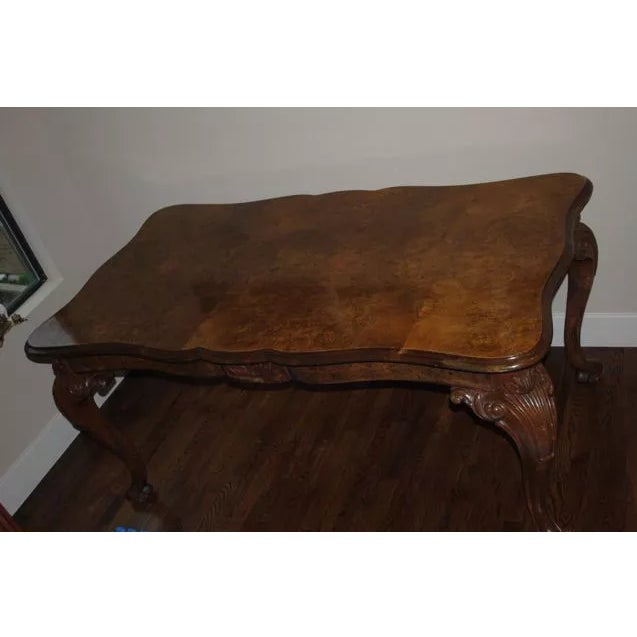 Antique Burled Walnut Dining Table - Image 5 of 6