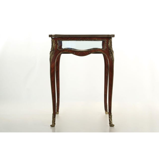 19th Century French Antique Bronze Side Table w/ Vitrine Display Case - Image 6 of 10