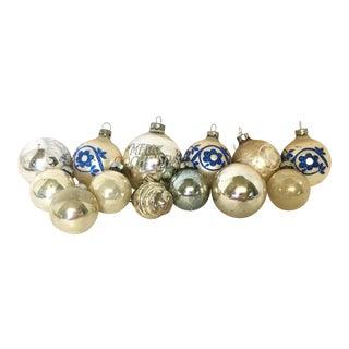 White & Silver Glitter Christmas Ornaments (Set of 13)