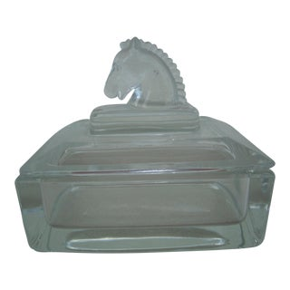 Horse Head Lid Glass Catchall Box