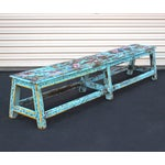 Image of Turquoise Handpainted Wooden Bench