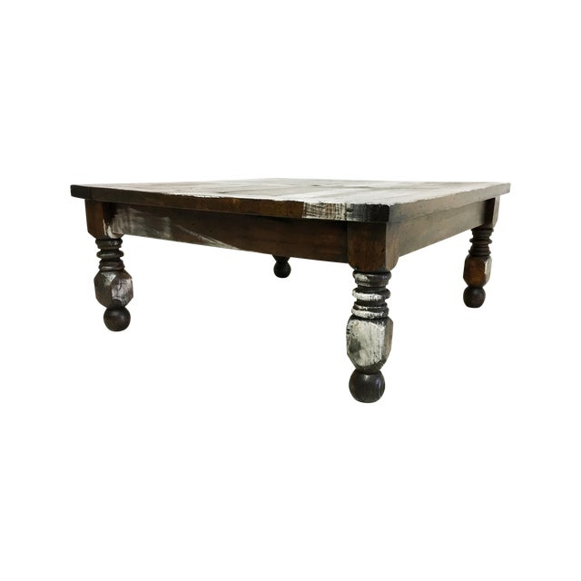 Image of Vintage Mexican Hand Painted Pine Coffee Table
